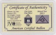 AÑO 2013 CERTIFICADO Lingote plata pura 99,9 - One Grain Fine Silver / 1 GRAIN