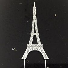 Eiffel Tower Cake Topper Rhinestone Crystal Bling Diamonte Sign Pick Silver