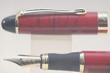 New Jinhao x450 Dark Red with Black Vein Medium Fountain Pen with Gold Trim
