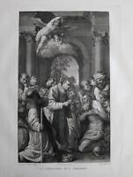1830 Aguafuerte Última Comunión de San Jerónimo Caracci Rosaspina cm. 47x30