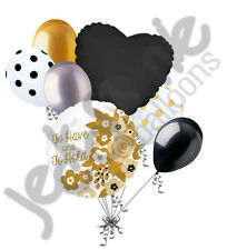 7 pc To Have & To Hold Gold Black Flowers Balloon Bouquet Wedding Bridal Shower