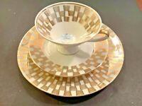Vintage 3 pc Tea Cup Saucer Dessert Plate Set Gold Checkered Blue Floral