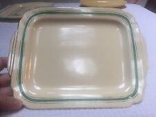 Vintage Homer Laughlin Century 11-1/2 Ivory Platter with Green & Platinum Stripe