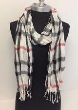 NEW Women Long Soft Fringe Scarf Fashion Crinkle Cotton Blend Wrap Shawl White