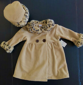 New Tag Baby Girl Tan Fleece Dress Coat + Hat 18M Starting Out Faux Leopard Trim