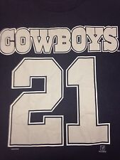Vintage Dallas Cowboys Deion Sanders 21 Large Blue T Shirt NFL Football Texas