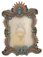 Olivia Riegel Photo Frame Metal Brass Turquoise Enamel Red Garland Jewel Antique