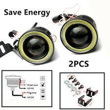 2X 3in 3200Lm LED Projector Fog Light Round Amber Angel Eye Halo Rings Truck 12V