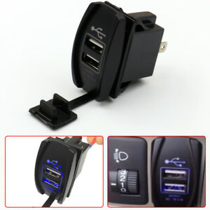 12-24V 3.1A Dual LED USB Car Auto Power Supply Charger Port Socket Waterproof