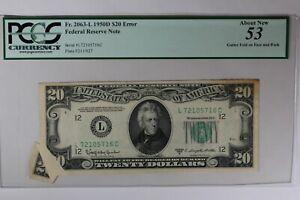 1950D $20 PCGS  AU53 ERROR GUTTER FOLD ON FACE AND BACK    FR.2063L