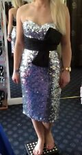 Dynasty Evening sequin short Dress silver with black sash bow Gown Size 8 BNWT