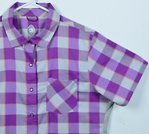 Club Ride Women's Large Pearl Snap Purple Check Wicking Casual Cycling Shirt