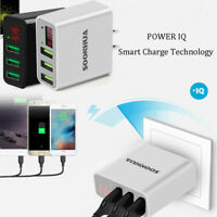 100-240V 3-Port USB 5V 3A Quick Charger Phone Wall Adapter With Digital Display