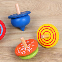 Wooden Gyro Spinning Top Peg-Top Cartoon Multicolor Kids Educational Toys LI