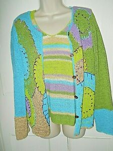 Women's  Crazy Horse Collections  2 pc. Sweater Set  Size M      Green -Blue-