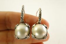 White Made Pearl Ornate 925 Sterling Silver Dangle Drop Earrings