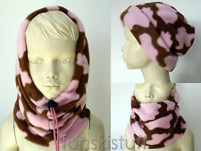 Girls Kids PINK COW BROWN SNOOD fleece neck warmer scarf hat ski school beanie