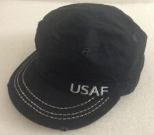 Black Official US Air Force USAF Military Cadet Distressed Style Adjustable Cap