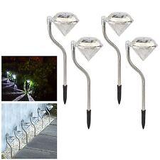 4pc Diamond Solar Power LED Light Outdoor Garden Modern Stylish Stainless Steel