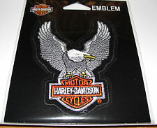 HARLEY DAVIDSON BAR&SHIELD UPWING SILVER EAGLE CLOTH PATCH EMBLEM