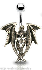 "Gothic Angel Of Dore Navel Belly Ring 14g 7/16""  Free Acrylic Retainer Included"