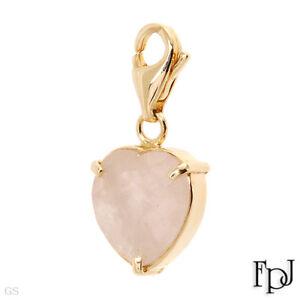 5.31ctw Genuine Quartz 14K Yellow Gold Heart Charm