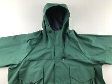 Vintage Columbia PFG Men XL Army Green PVC Rain Jacket Windbreaker Hood Zip Snap