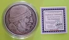 Silver 2016 5 oz THE FISHERMAN ANTIQUE PROOF - Hobo Nickel Series - MrThe Design