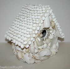 NICOLE MILLER WHITE BIRD CAGE,NEST,HOUSE WITH SEA SHELLS+SANAILS-HAND MADE