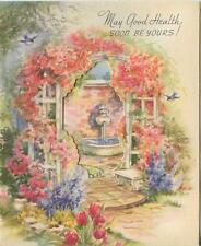 VINTAGE HEAVENLY GARDEN ROSES ARBOR TRELLIS FOUNTAIN WISH GREETING CARD PRINT