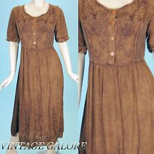 VTG 70s 80s LONG Brown boho gypsy festival embroidered crochet dress gown Sz M