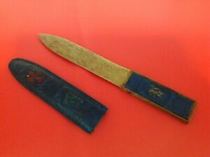 Vintage Wooden Letter opener With Blue Leather Handle & Sheath / Sleeve Crests