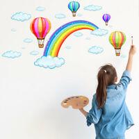 Rainbow Hot Air Balloon Wall Decal Nursery Baby Room Decor Art Sticker Gift