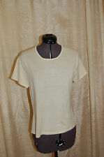 Oscar de la Renta Cream Wool Short Sleeves Knit Top Shirt Size M