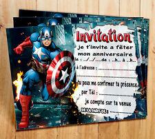 Cartes invitation anniversaire  Captain America par  6 ou 12