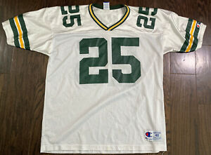 Vintage Dorsey Levens #25 Green Bay Packers NFL Football Jersey Mens 48 White