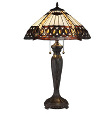 Serena D'italia Tiffany Amberjack 26 in. Bronze Table Lamp, Stained Glass Shade