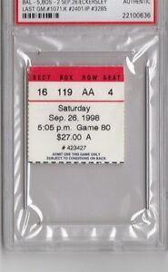 1998 Dennis Eckersley Last GM 1071/Last K 2401 PSA Ticket Pass  Boston HOF