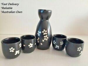 Japanese Sake Set with 4 Cups - SK002 Black