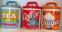 Vintage 60s Retro Style Ceramic Tea Coffee Sugar Canisters Storage Jar Set 3