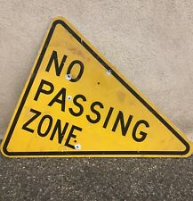 """Rustic 41""""x34"""" NO PASSING ZONE Aluminum Road/Highway Street Sign ManCave Vintage"""