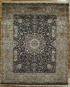 High End Nature Print Wildlife Handmade 8' x 10' Black Silk Rug