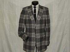 Ratner Clothes men's vintage heavy Gray plaid Slim fit jacket coat 40 L
