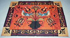 Folk Art Birds Grande Tapestry Wall Hanging Crafters Fabric Remnant