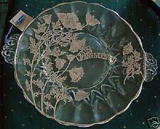 25th Anniversary Crystal Cake Plate Flanders Janice Sterling Silver Overlay