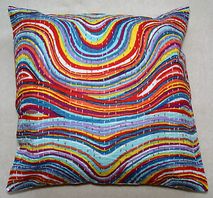 Indian pure cotton Leheriya (waves) pattern colourful Cushion Covers