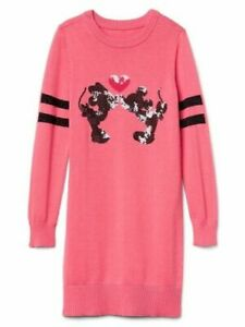 Gap Kids Disney Mickey Minnie Mouse Pink Sequin Sweater Dress Large 10 $68 NWT