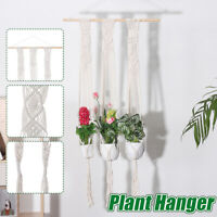 Pot Holder Macrame Plant Hanger Hanging Planter Basket Hemp Rope Braided Decor