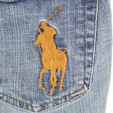 Ralph Lauren Womens Size 26 Blue Jeans Embroidered Horse Back Pocket Name Snaps