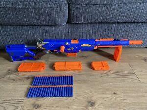 Nerf N-Strike Longstrike CS-6 Sniper Blaster Gun 5 Mags 40 Blue Darts Ammo